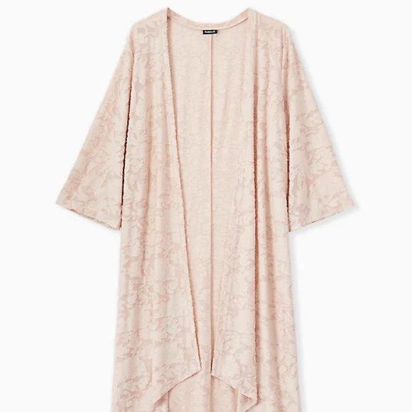 TORRID - Light Pink Hacci Burnout Hi-Lo Kimono